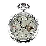 Treeweto - reloj de bolsillo para hombre, color plata con números romanos y cadena, formato 24HORAS sol y luna + caja de regalo