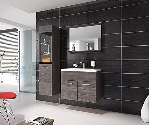 Badezimmer Badmöbel Rio LED 60 cm Waschbecken Bodega (Grau) - Unterschrank Hochschrank Waschtisch Möbel