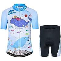 Maillot de ciclismo para niños, manga corta, diseño de dibujos animados, para ciclismo de carretera y montaña, pantalones cortos transpirables