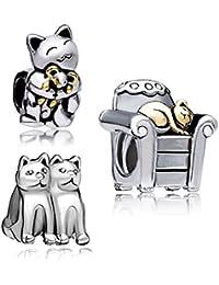 UniqueenJewellery Anhänger mit lachender Katze, die eine Maus umarmt, Glücksbringer, Pandora Armband
