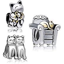 uniqueenjewellery sonriente gato Abrazando ratón Animal barato venta de pulseras de Pandora