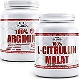 C.P. Sports 100% Arginin mit B6 + L-Citrullin Malat je 500g Dose Kombiangebot hochdosiert, Premiumqualität, Vegan steigert Ausdauer und Leistungsfähigkeit perfekt für Kraftsport