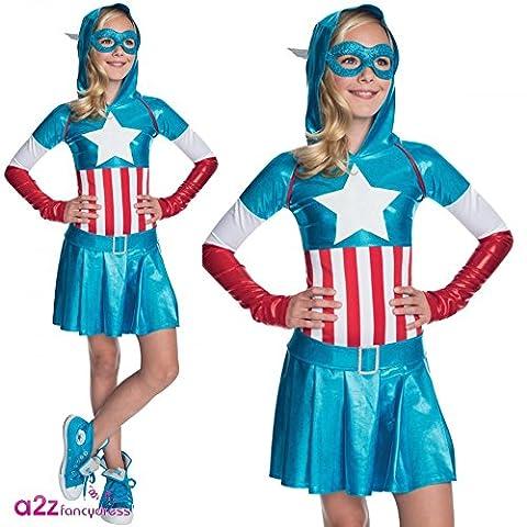Captain America Fille Costume For Kids - Vestido Costume Captain America