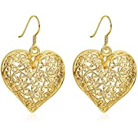 Cuore in filigrana foglia di vite gancio orecchino nuziale set regalo per donne ragazza adolescente placcato oro 18ct
