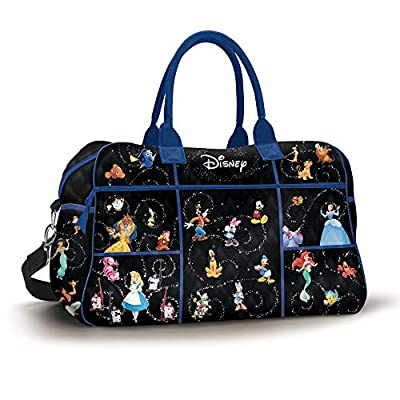 Disney 'Relive The Magic' Quilted Weekender Tote Bag - Black Poly-Twill Fabric Bag Featuring 61 Disney Characters. 5 Roomy Pockets And Trolley Sleeve. Exclusive To The Bradford Exchange.
