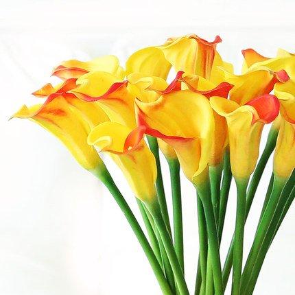 dgefertigt Real Touch Latex Calla Lilly Künstliche Spring Flowers für Arrangements, Blumensträuße, Hochzeiten, und Aufsteller (5Stück) Yellow-Red ()