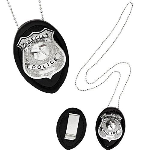 Amakando Polizeimarke Halskette Polizei Abzeichen Polizisten Marke Rangabzeichen Dienstmarke mit Kette Cop Kostüm Accessoire Polizeikette Polizeiabzeichen (Polizei Spielzeug Abzeichen)