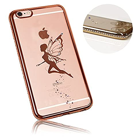 "Xtra-Funky Reihe iPhone 6 / 6S (4.7"") Schlank Silikon-Hülle mit Funkelnden Kristall Kanten & Mystischen Fee - Roségold"