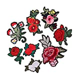 #8: MagiDeal 8 Pieces Flower Fashion Embroidery Flower Patches Decorative Applique Patches Garment Decoration