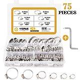 VIGRUE 75Pezzi Fascetta 100% 304 acciaio inossidabile per Tubi Clip per Tubi Fascette Stringitubo Ingranaggio Morsetto a Fascetta Kit di assortimento 8-33MM