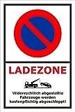 Schild – Eingeschränktes Halteverbot –Ladezone – 15x10cm, 30x20cm und 45x30cm – Bohrlöcher Aufkleber Hartschaum Aluverbund -S00350-017-A