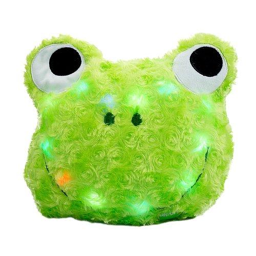 art decor Leuchtkissen in Froschform, Plüsch, LED Kissen Frosch, grün, Ø ca. 30cm