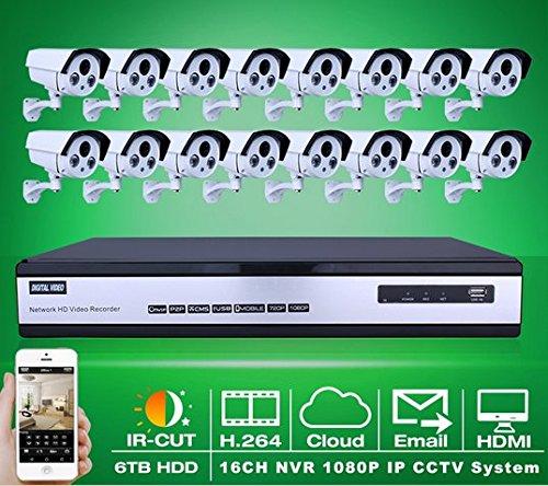 Preisvergleich Produktbild Gowe 6TB HDD 16CH H.264NVR Überwachung system ONVIF 1080P 2MP Full HD Outdoor Array IR IP Netzwerk Kamera Sicherheit Video CCTV System