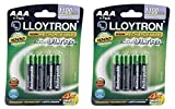2 x Lloytron AAA 1100mAh NIMH AccuUltra Rechargeable Batteries (Pack of 4)