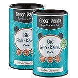 Green Panda Bio Roh-Kakao Pulver 250g aus Premium Criollo Kakaobohnen (2er Pack - 2 x 125g) Raw Organic Vegan, rohes Kakaopulver entölt, 22g Protein, zuckerfrei