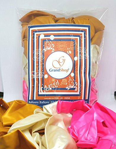 GrandShop 50414 Metallic HD Toy Balloons - Princess Theme, Pink/White/Golden (Pack of 50)