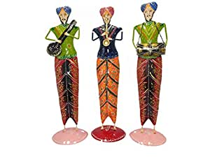 Shree Siddhivinayak Murti Bhandar Wooden Colour Rajasthani Musical Players 3 pcs (46.25 cm x11.25 cm x11.25 cm)