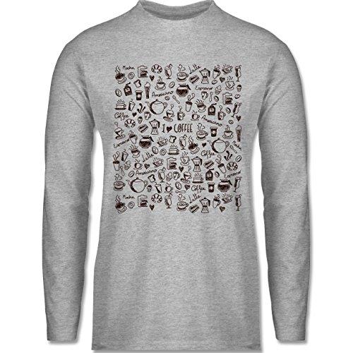 Shirtracer Statement Shirts - Kaffee Scribble - Herren Langarmshirt Grau Meliert