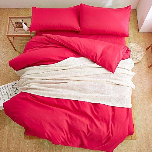 XMDNYE Winter Style Double Color Lila Farben 3/4 Pcs Bettwäsche-Set König Königin Full Twin Bettbezug-Set Flache Blatt Kissenbezug (König Lila Blatt Flaches)