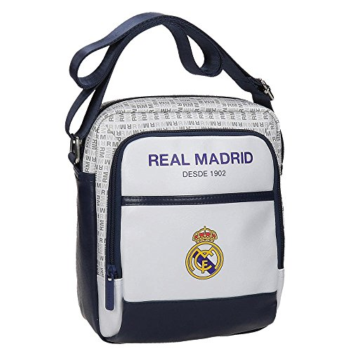 Real Madrid White Rm Umhängetasche, 22 cm, 3.83 liters, Weiß (Blanco) (Real Madrid Messenger Tasche)