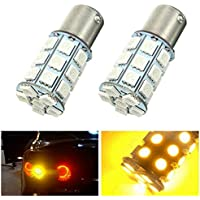 Pair 21W 5050 27SMD LED Auto Turn Signal Light Tail Lamp Reverse Bulb Yellow 12V