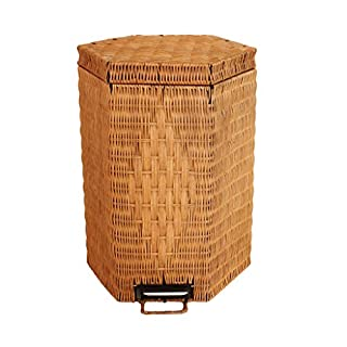 AILI Household Living Room Waste Recycling Trash Can, Vintage Weave Polygon Pedal Trash Can (Size : 5l-1)