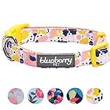 Blueberry Pet Fein Gefertigtes Niedliches Blumendruck Hundehalsband in Cremeweiß für Hunde, M, Hals 37cm-50cm