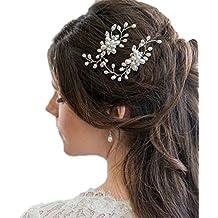 Contever 3 Pezzi Sposa Capelli Cristallo Perle Forcine per Capelli da Donna  Fermagli Copricapo Accessori e8a3ce7aa44c