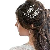 Contever 3 Pezzi Sposa Capelli Cristallo Perle Forcine per Capelli da Donna Fermagli Copricapo Accessori, Oro Fermagli