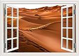3D Vista Della Finestra,Adesivi Da Parete Murali Effetto,Paesaggio Desertico, Fuori Dalla Decorazione,Rimovibili Vinile Diy Stickers Murali,Per Soggiorno Camera Da Letto Adesivo