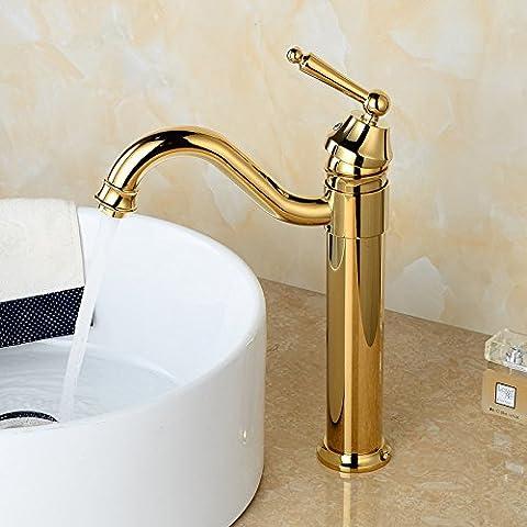Tous les Européens en cuivre antique style rétro, robinet d'eau manufacturée, seul trou robinet bassin, bassin de table, robinet d'eau chaude et froide,Undercounter