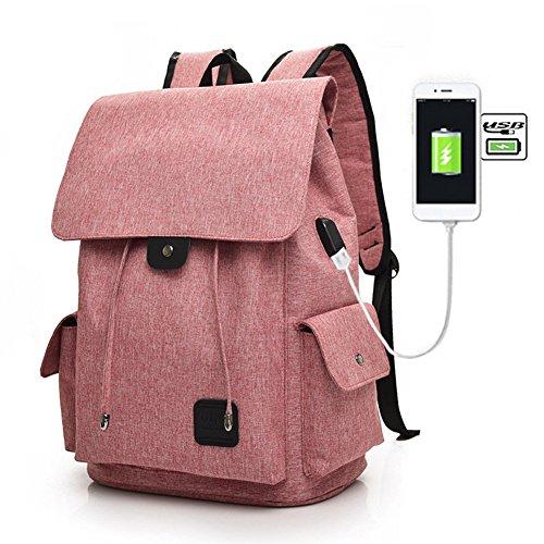 Fastar zaino per computer portatile con porta USB per ricarica, borsa zaino in tela leggera e resistente, borsa da viaggio, zaino da escursionismo, zaino da scuola con facile accesso a cellulari, lettore MP3,notebook, Pink