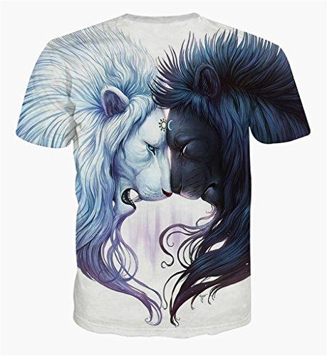 Pizoff Unisex Print Schmale Passform T Shirts mit Karikatur Katze 3D Druckmuster Y1625-14