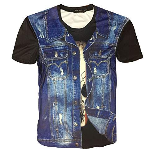 Unisex Print Sommer Casual Kurzarm T-Shirt,3D Dusk Beach Beiläufiges Kurzarm T-Shirt 1 L -