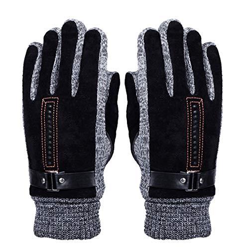 TOOGOO Herren Winter Leder Handschuhe Dick Warme Fleece Winddichte Handschuhe Kalter Beweis W?rmef?ustlinge - Perfekt für Das Fahren Von Fahrr?dern Motorrad Camping Usw -