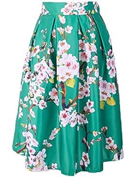 Mujer Faldas Plisadas Fiesta Coctel Estampadas De Multicolor Elegantes Vintage Años 50 Etnicas Altas De Cintura...