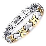 Vyaaa Damen Schmuck Magnet Therapie Liebesherz Armbänder Edelstahl Gold und Silber zweifarbig justierbare 20 CM Geschenk Kasten