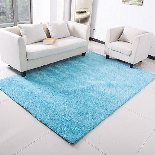 William 337 Shaggy Teppich Plain 4cm Thick Soft Pile Moderne 100% Dichte Pile Teppich erhältlich in 4 Größen (Farbe : Blau, größe : 70X140cm) -