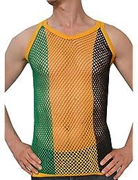 Crystal Hombre 100% Algodón Camiseta de Tirantes de Malla Ajustada Tallas S-5XL Disponibles