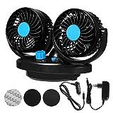 LUKAT Auto Ventilator 12V für Das Armaturenbrett 360 Grad drehbar für Zwei Personen gleichzeitig Doppelter Car Fan