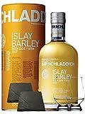 Bruichladdich 2009 Islay Barley Rockside Farm Unpeated Islay Single Malt Whisky 0,7 Liter + 2 Glencairn Gläser und 2 Schieferuntersetzer quadratisch 9,5 cm