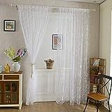 Lommer Vorhang Transparent, 2er 200x100CM Gardinen Set Beflockung Fenstersiebung Voile Schlaufenschal Tüll Fenster Vorhang Garn für Schlafzimmer und Wohnzimmer, Schmetterlingsmuster (Weiß)