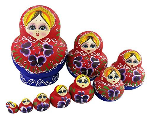 Winterworm Set de 10rojo y verde flores de madera ruso Nesting Dolls Matryoshka muñeca rusa