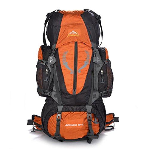 groß 80+5L Wander Zelten Outdoor Sport Intern Rahmen Rucksack Wasserbeständigkeit Tagesrucksack Reisen Racksuck Orange