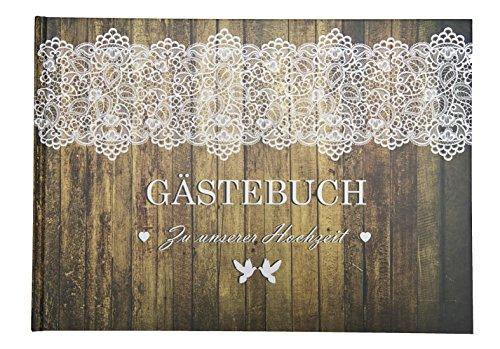 Gastebuch Hochzeit Wood Holzoptik Mit Spitze Gastebuch Vintage