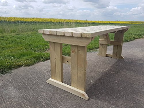 HOLLIES Wooden Garden Dining Picnic Table - Heavy Duty - Handmade Outdoor Furniture in UK- Pressure treated - Light Green (Natural) (5FT)
