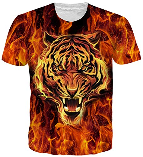 a511e165ab494 Loveternal Unisex T Shirt 3D Printed Tiger Graphic Casual Short Sleeve Tops  Tees XL