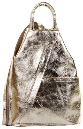 Primo Sacchi ® Italienisch Leder Metallic Gold Top Griff Schultertasche Rucksack Rucksack. Inklusive Markenschutz-Aufbewahrungstasche