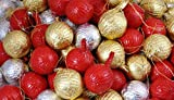 Milk Chocolate Christmas Tree Baubles Decorations 100 Full Box Gold Silver Red