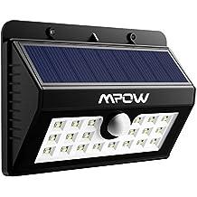 Foco Solar 20 LED Impermeable Mpow, 1500mAh Lámpara Luz con Sonsor de Movimiento para Jartín Casa Camino Escaleras Pared, IIluminación de Exterior y